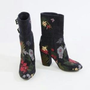 LAURENCE DACADE Floral Embroidered Canvas Boots